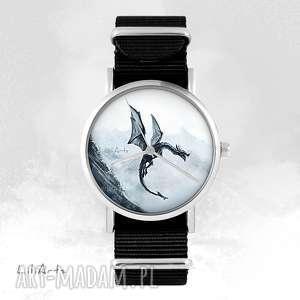 zegarek - czarny smok czarny, nato, unisex, zegarek, bransoletka