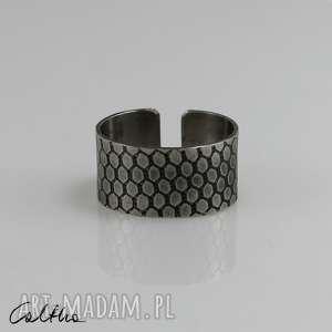 plaster miodu - metalowy pierścionek s, pierścinek, obrączka, metalowy, metalowa