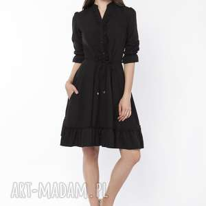 sukienka z falbanką, suk169 czarny, zwiewna, modna, kobieca, stylowa, elegancka