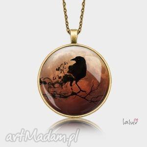 medalion okrągły raven - kruk, ptak, czarny, natura, wzór, prezent