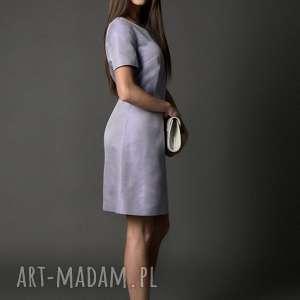koktajlowa sukienka/ tafta strukturalna - liliana, tafta, prosty fason