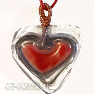 unikaty sita serce szklane, wisior, walentynki, serce, prezent, szklany