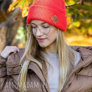 wywijana dwustronna logo z ekoskórki neon orange, czapka wywijana, damska