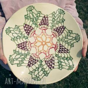 ceramiczna patera wzór koronki, kwiat, kolorowa, patera, misa, misa na owoce