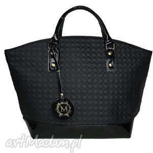 shoper bag koszyk czarny pikowany ortalion w kółka, manzana, shoper, bag