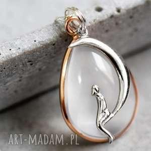925 opal srebrny łańcuszek, księżyc, naszyjnik, opal, kamień, srebro, 925