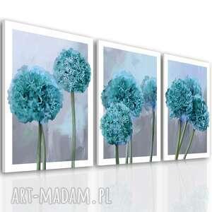 nowoczesna grafika drukowana na płótnie - turkusowe kwiaty czosnku tryptyk 3