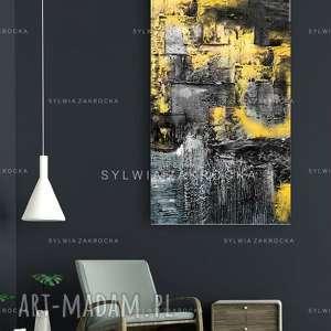 duzy obraz do salonu zolto popielata erozja, żólta dekoracja, nowoczesna
