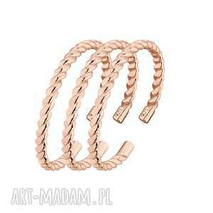 zestaw trzech obrączek z różowego złota - pierścionek