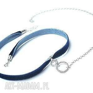 naszyjniki choker navy smycz - naszyjnik , srebro, choker, aksamitka biżuteria