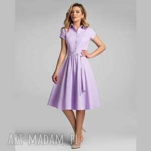 sukienka sabina midi lila, basic, z kołnierzem, szmizjerka