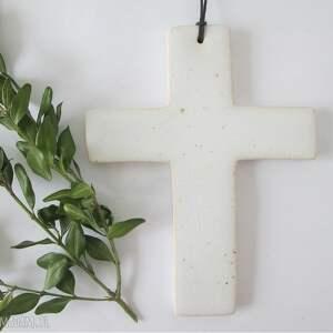 biały krzyżyk ceramiczny - ,komunijny,krzyż,dewocjonalia,ceramika,
