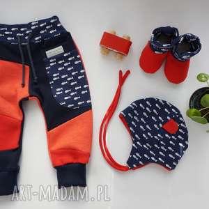 baby shower set fishbone spodnie czapka bambosze, komplet dla dziecka, prezent