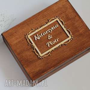 Pudełko na obrączki - ramka II, ślub, drewno, eko,