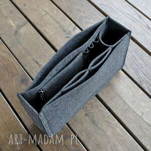 ręczne wykonanie torebki organizer z filcu - grafitowy wąski