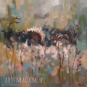 JESIENNA ŁĄKA -obraz akrylowy formatu 30/30 cm, jesień, akryl, trawy,