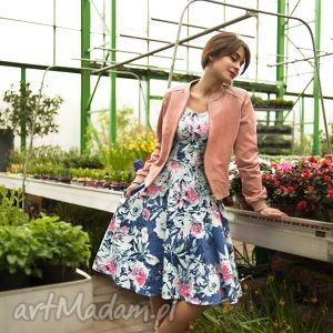 sukienka luna i midi susanna , midi, kwiaty, róż, niebieski, błękit, rozkloszowana