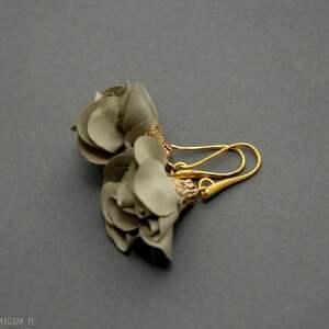 kolczyki z kwiatkami, kwiat, eleganckie, wiszące, khaki, wesołe, małe