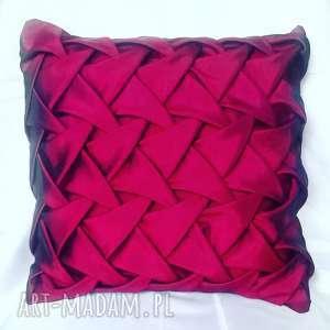 bordowa poduszka canadian origami, poduszka, tafta, szycie