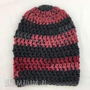 rĘcznie robiona czapka bordowo szara 1 hand made - czapka, czapki, szydełko