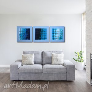 obraz mozaika niebiesko turkusowa - 120x40cm duży ręcznie malowany, obraz