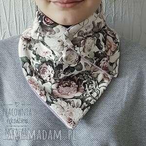 melat09 szalik zapinany-komin kwiaty handmade retro, damski, damski szal