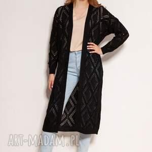 ażurowy płaszcz - swe145 czarny, płaszcz, sweter na wiosnę