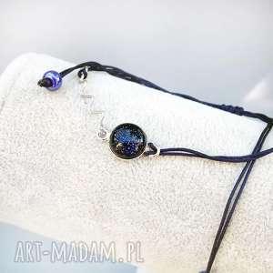 bransoletka ze szkłem dichroicznym, bransoletka, sznurkowa, sznureczek, szkło