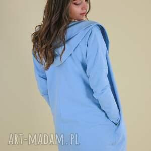 hand made poncho kardigan damski, peleryna z bawełny, niebieska