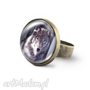 pierścionek - szary wilk antyczny brąz