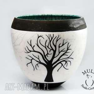 handmade ceramika wazor osłonka drzewo raku