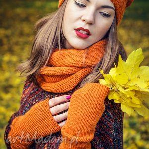 rękawiczki mitenki pomarańczowe, wełna, mitenki, oryginalny prezent