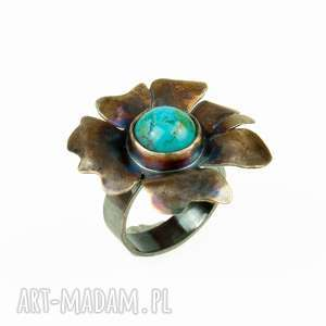 srebrny pierścionek z turkusem a553, srebrny, kwiat