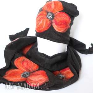 komplet wełniany czarny kwiaty pomaranczowe, komplet, chusta, apaszka, zima,