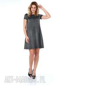 Srebrna sukienka z krótkim rękawem., sukienka, rozkloszowana, trapez, dzianina