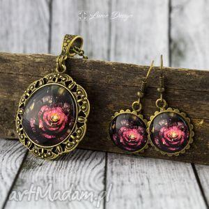 komplety komplet vintage flower - medalion / kolczyki, medalion, wisiorek, kolczyki