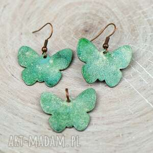 zielone motyle komplet biżuterii