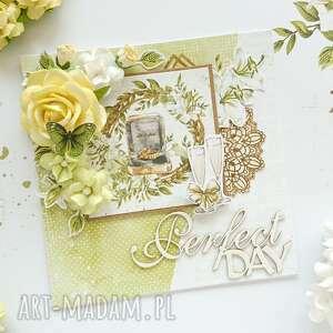 kartka na ślub, zielono-żółta, ślubna