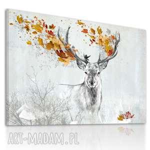 Obraz na płótnie - 120x80cm JELEŃ JESIENIĄ 02265 wysyłka w 24h, jeleń, grafika