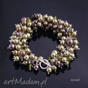 hedera bransoletka z pereł swarovski, perły srebro