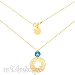 sotho złoty naszyjnik z dużą arabską rozetą i turkusowym