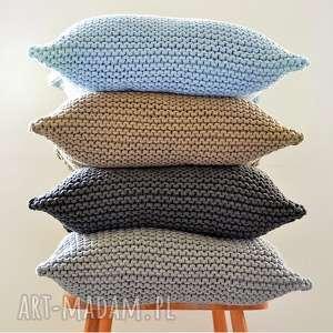Poduszka ze sznurka bawełnianego 50x50 cm - grafit, poduszka, poduszka-handmade