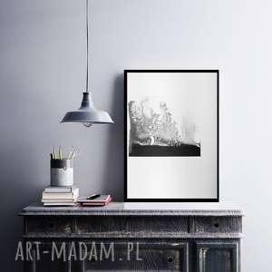 abstrakcja minimalizm obraz malowany, plakat 30x40, grafika czarno-biała
