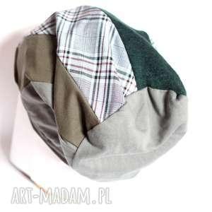 czapka duża damska patchwork w kratke, patchwork, dzianina, tkanina,
