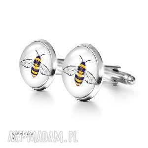 pszczoła - spinki do mankietów, mankiety męskie, unikatowy, prezent