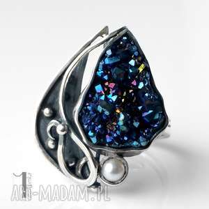 Blathan srebrny pierścień z kwarcem tytanowym, kwarc, tytan, perła, metaloplastyka