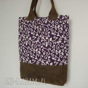 shopper bag fioletowa - skóra i len, shopper, torba, skóra, laptop