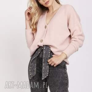 swetry luźny kardigan - swe225 pastelowy róż mkm, sweter cardigan