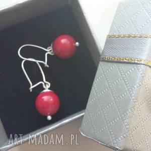 malinowe kolczyki z perełkami swarovskiego srebro 925, srebro