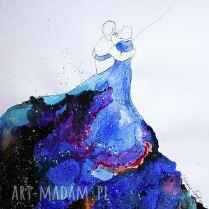 Akwarela NIEBIESKA SUKIENKA 2 artystki A. Laube, akwarela, miłość, balon, kosmos
